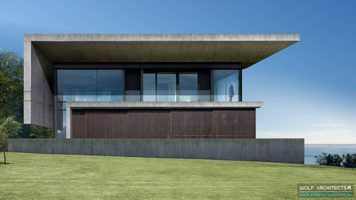 Bay View House modern with concrete roof and eaves