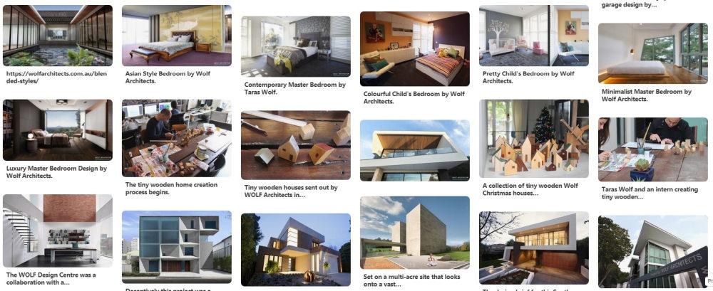 Wolf architects Pinterest page snapshot