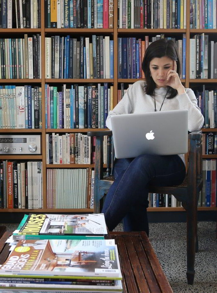 Working in the Home office library