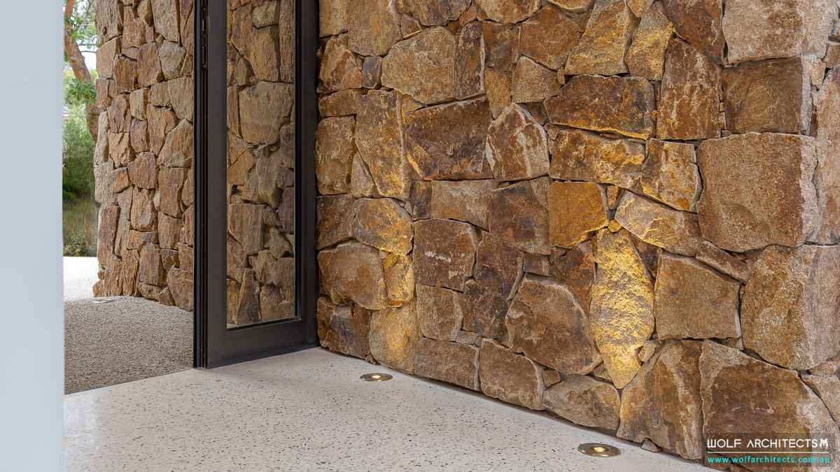 Modern Entry stone wall detail