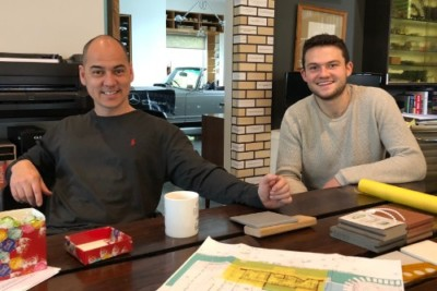 Taras and Sebastien at the WOLF Architects office