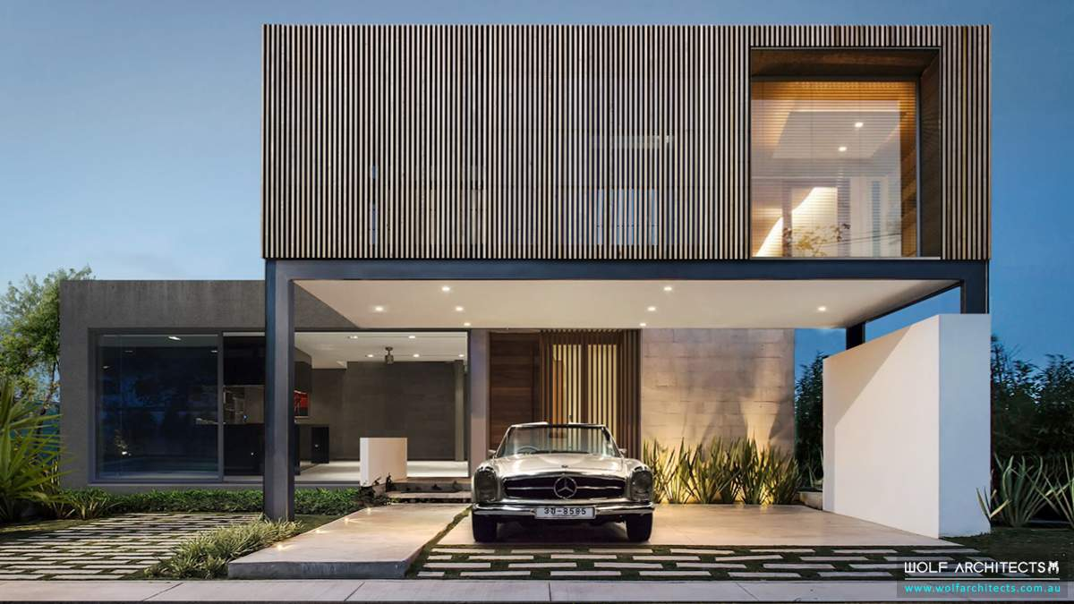 Modern Timber battened house with Mercedes Benz parked in front