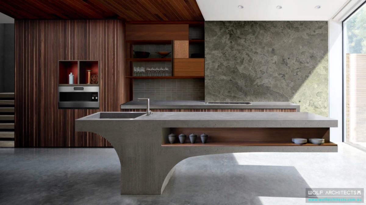 Retro house concrete island kitchen bench