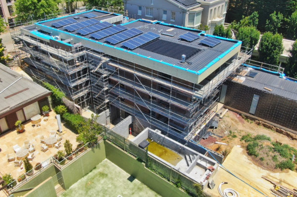 Toorak project Drone image of roof back corner view