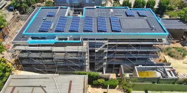 Toorak project Drone image of roof side view