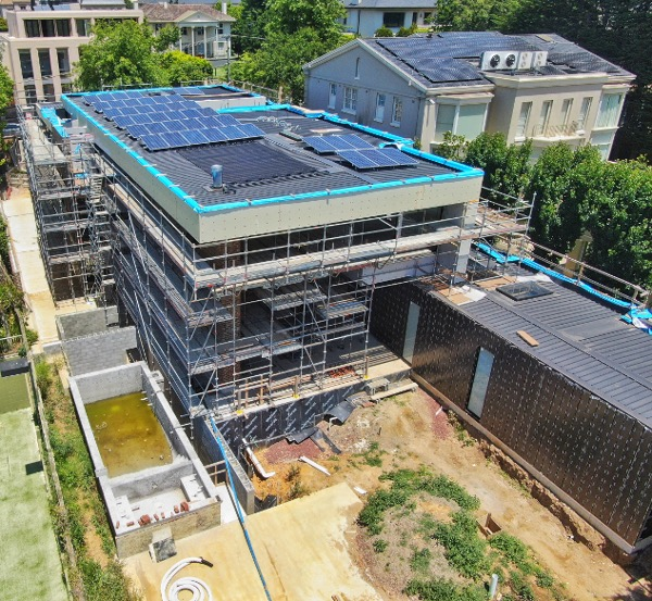Toorak project Drone image of roof back view