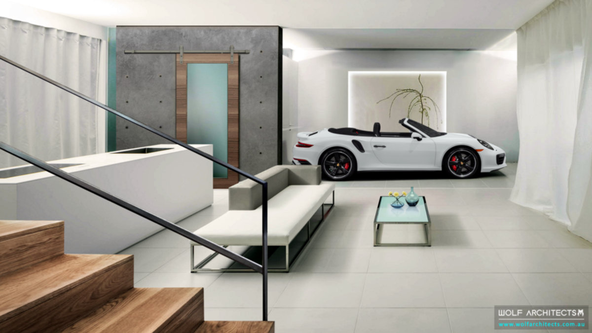 modern contemporary basement car garage studio